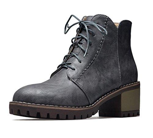 Talon Lacets Chaussures Oaleen Hiver Cuir Gris Cheville Bloc Ville Moyen Aspect Boots De Femme wUSqC40
