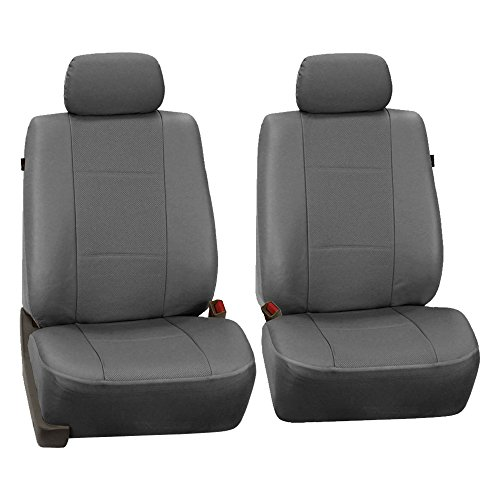 FH Group PU007GRAY102 Gray Deluxe Leatherette Bucket Seat Cover, Set of 2 (Airbag -