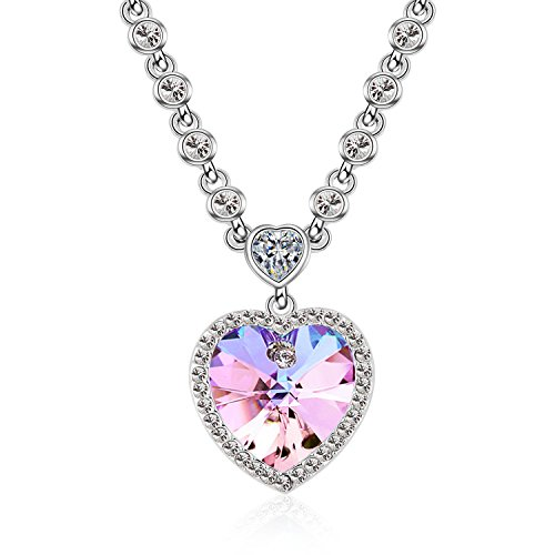 Silver Plated Purple Crystal - F-U Ocean Heart Necklaces for Girlfriend Love You Purple Crystals Silver Plated Collar Necklaces