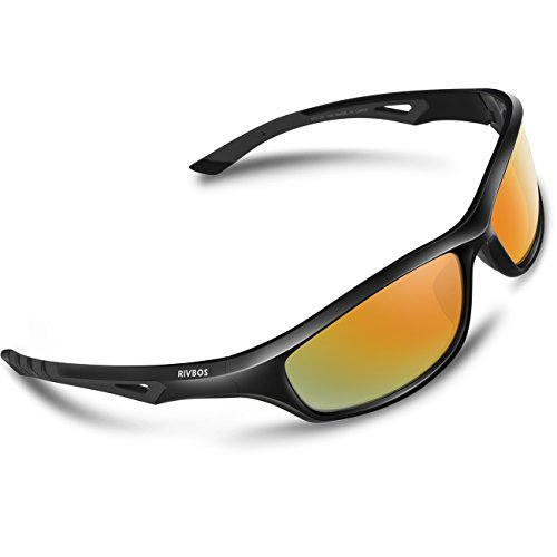 RIVBOS Polarized Sports Sunglasses Driving Comfortable Sun Glasses for Men Women Tr 90 Flexible Frame for Cycling Baseball Running 842 (Black, Rainbow Mirrored - Prescription Men For Sunglasses Motorcycle