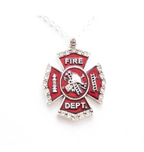 FIREFIGHTER Red Maltese Cross Necklace on 18 inch chain. Small Crystal Rhinestones Outline the Edges of Red Enamel Cross.