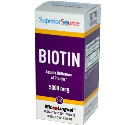 Superior Source Biotin -- 5000 mcg - 100 Instant Dissolve Tablets (Best Source Of Biotin)
