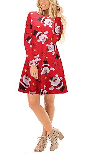 Salimdy Womens Fashion Ugly Christmas Print Casual Loose Long Sleeves Mini Dress Star Red S (Mini Star Big Skirt)