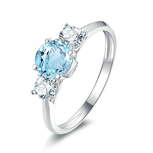 Adisaer-Anniversary Cubic Zirconia Wedding Ring 925 Sterling Silver Plated LW 6X6Mm Three Round Stone Blue Topaz Ring Size - White Gold 4 14k Topaz Ring Ct Blue