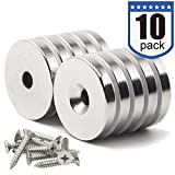 """DIYMAG 10 Pack 1.26""""D x 0.2""""H Neodymium Disc Countersunk Hole Magnets. Strong, Permanent, Rare Earth Magnets,with 10 Screws."""
