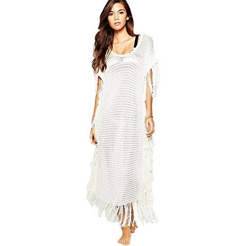 X&L Elegante, weiße, Quaste, stricken, lange Ärmel, Strand, Bikini, lose Jacke shirt , meters white ,