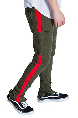 Kayden K Men's Tapered Skinny Striped Pants with Ankled Zippers (32, Cargo Olive/Red)