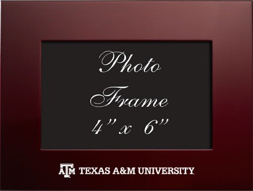 Texas A&M University - 4x6 Brushed Metal Picture Frame - Burgundy