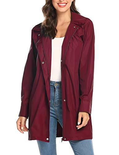 - Junior Hiking Rain Jacket Women Jogging Raincoat Stylish Rain Coat with Hood Wine Red XXL