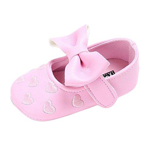 Juleya Niño bebé recién nacido suave Soft Bowknot Princesa Toddler zapatos Green 12-18M rosado