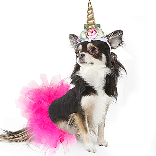 B Bascolor Pet Unicorn Costume Tutu Skirt Unicorn Headband Fancy Halloween Costume for Cats Dogs (S)