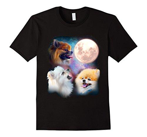 Mens Pomeranian Howling Moon Shirt - Three Wolves Moon Tee Large Black