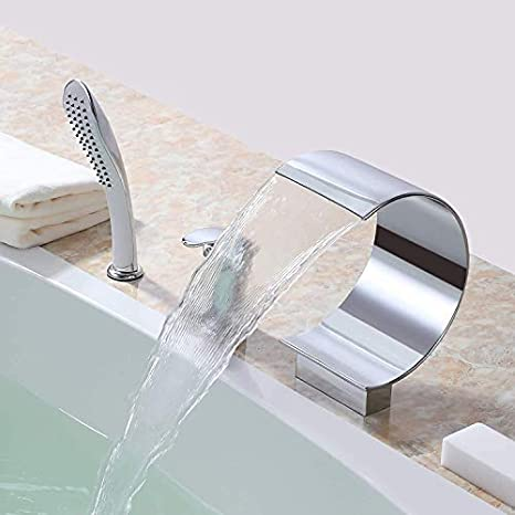 Yawhite Roman Waterfall Tub Filler Faucet Single Handle 3 Hole Deck Mount Bathtub Faucet With Handheld Shower Chrome