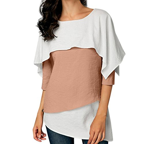 ◕‿◕ Toponly Women Patchwork Three Quarter Sleeve Overlay Embellished Tops ()