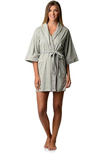 Casual Nights Womens Jersey Kimono Short Robe - Heather Grey - Medium (Jersey Kimono)