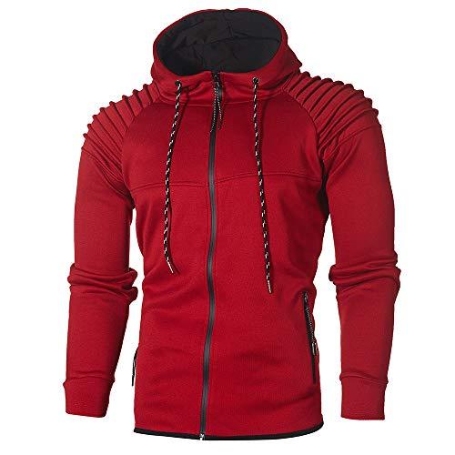 Realdo Men's Sweatshirt Set, Autumn Winter Hoodie Pocket Tops + Bottom Sports Suit Tracksuit(Medium,Red)