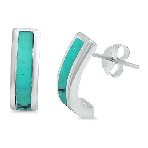 Half Hoop Stud Post Earrings Simulated Green Turquoise 925 Sterling Silver (Yellow Turquoise Gemstone)