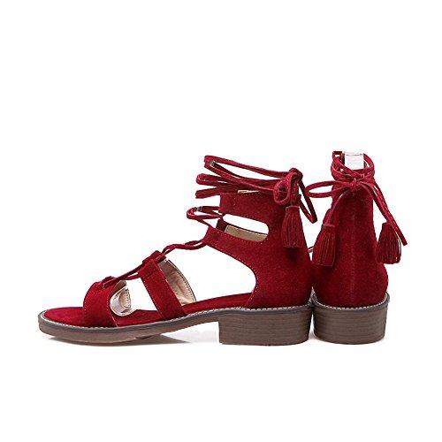 AdeeSu Ladies Round-Toe Tassels Lace-up Urethane Sandals Claret e6xfa3C