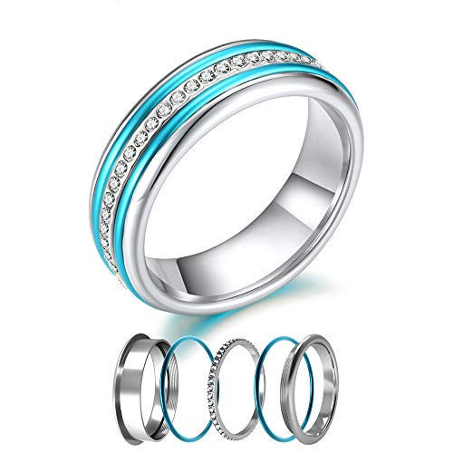 (Floya 6MM Cute Dome Rings Interchangeable Crystal Round Stackable Anniversary Thin Eternity Band Three Ring Set)