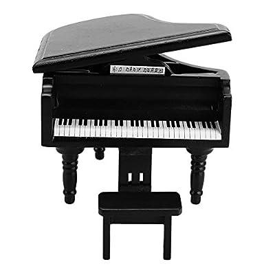 Tnfeeon Mini Dollhouse Piano, Mini Simulation Wooden Grand Piano with Stool Upright Piano Miniature Replica for 1:12 Doll House Accessory (Black): Toys & Games