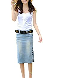 Babyhclub Women's Midi Length Denim Skirt Slim Side Slit Pencial Skirts