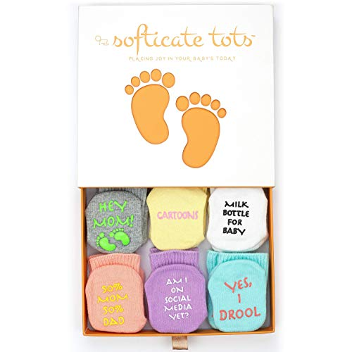 Set of 6 Unisex Baby Socks - Premium Quality, Soft & Comfortable Cotton Socks for 0-12 Month Old Babies - Makes Cute Baby Shower Gift