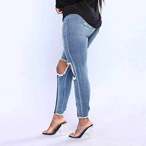 Huixin Cremallera Desgastados Bolsillos Ajustados Stretch Pantalones Vaqueros Elástico Colour Con Lápiz 7wXF7qr