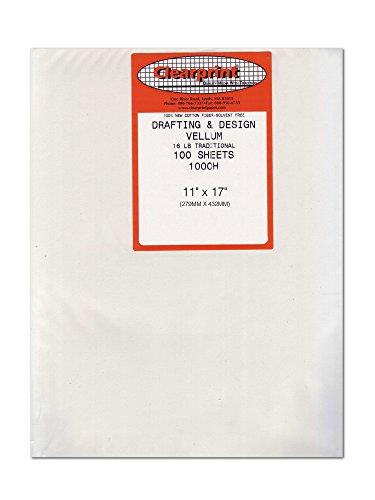 Clearprint 1000H Design Vellum Sheets, 16 Lb., 100% Cotton, 11 x 17 Inches, 100 Sheets Per Pack, 1 Each ()