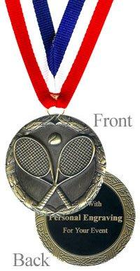 QuickTrophy Tennis Medal - Engraved - Engraved Tennis Medal