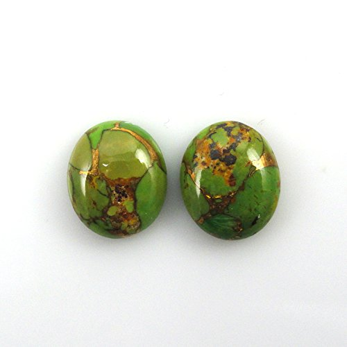 (Natural Green Copper Turquoise Cabs Approximately 8 Carat Oval 12x10mm Matching Pair (3091))