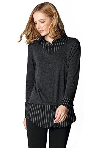 Layered Look Stripe Shirt (Missactiver Women's Sweatshirt Pullover Layered Twofer Work Shirt Knit Jumper Sweater (Medium, Stripe))