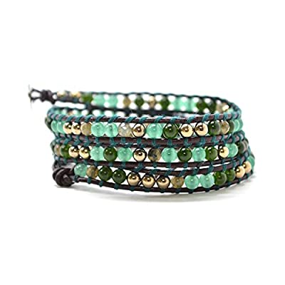 """Jaded Forest - 23"""" Gold Agate Bead Dark Brown Leather Wrap Green String Boho Style Fashion Jewelry"""