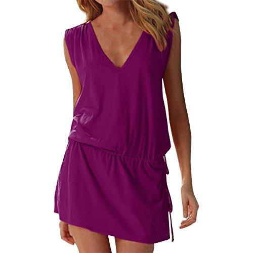 LAPAYA Women's Swim Beach Dress Deep V Neck Open-Back Beach Cover Up Beach Skirt, Purple, 8-10