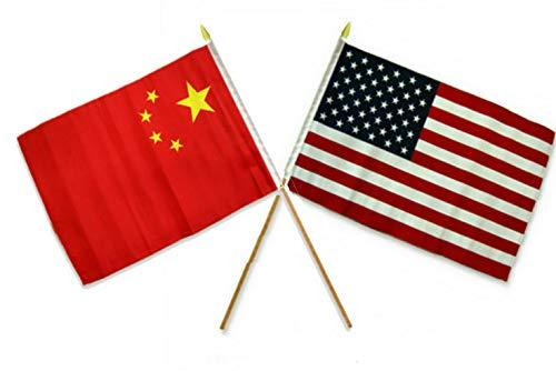 (Mikash 12x18 12x18 Wholesale Combo USA American China Chinese Stick Flag | Model FLG - 2149)