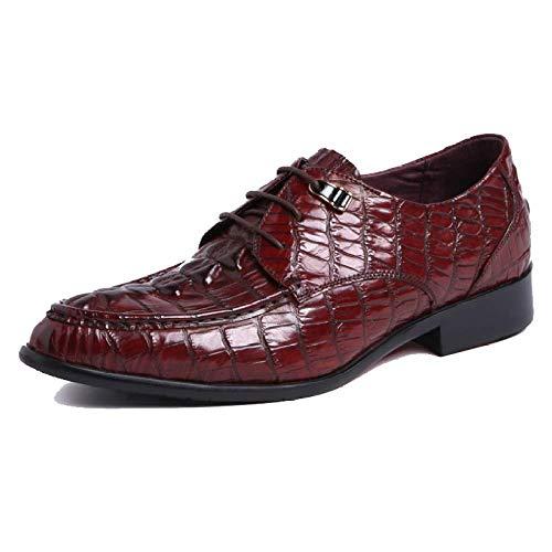 Scarpe da Uomo in Pelle Scarpe Stile Inglese A Punta Appuntita Business Trend Trendy Lace-up Shoes Red