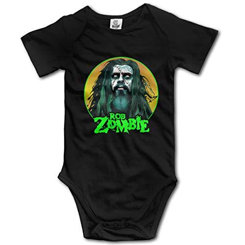 JohnBHaws Rob Zombie Funny Round Neck Short Sleeve Baby Bodysuit Black 0-3M