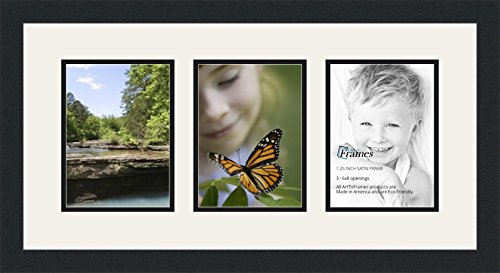 Finished Frame Set (ArtToFrames Double-Multimat-782-61/89-FRBW26079 Collage Photo Frame Double Mat with 3-6x8 Openings and Satin Black Frame, Super White, 3-6x8)