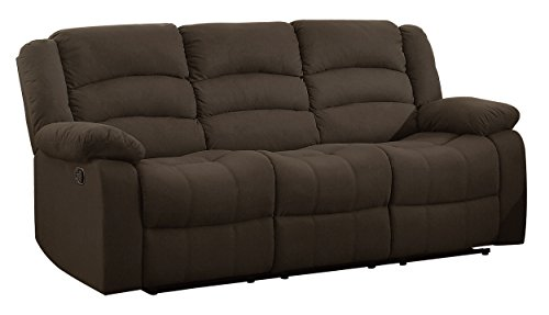 Homelegance 8436CH-3N Transitional Design Rolled Tufted Reclining Sofa Chocolate Velvet