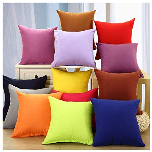 Coliang 2019 Candy Solid Color Throw Pillow Case Fashion Cushion Sofa Bed Office Spandex Supersoft Back Cushion Two Sides Pillow Cover 18x18 Inch (45x45CM) - Wine Red