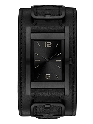 GUESS Men's Quartz Stainless Steel and Leather Casual Watch, Color:Black (Model: U1165G2)
