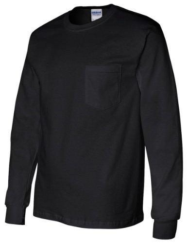 Gildan Adult Ultra Cotton Long Sleeve Pocket T-Shirt - Navy, Large (Pocket T-shirt Chest Gildan)