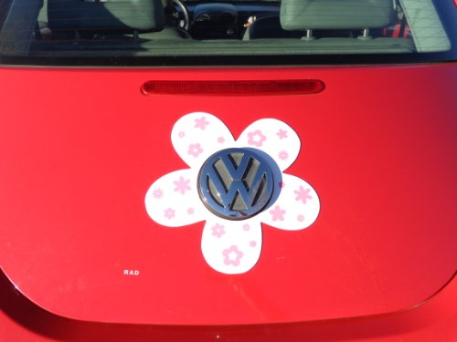 Magnetic VW Beetle Decal Pink Daisy
