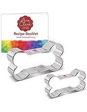 "Ann Clark Cookie Cutters 2-Piece Dog Bone Cookie Cutter Set with Recipe Booklet, 2"""