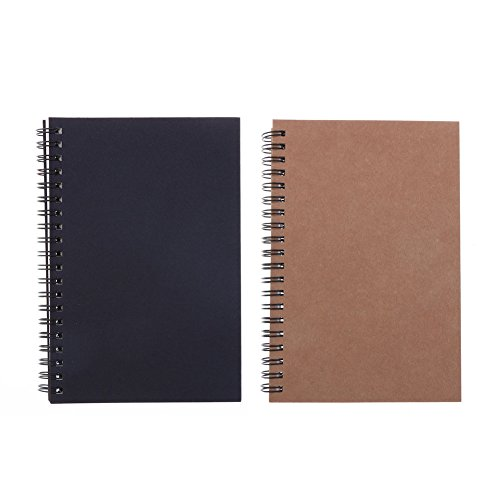 Soft Cover Spiral Notebook Journal 2-Pack, Blank Sketch Book Pad, Wirebound Memo Notepads Diary Notebook Planner with Unlined Paper, 100 Pages/50 Sheets, 7