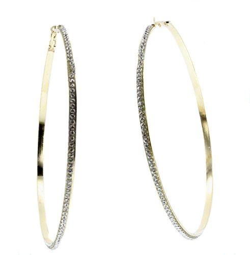 Violet & Virtue Gigantic Eternity Crystal Endless Hoop Earrings (Goldtone,3.5