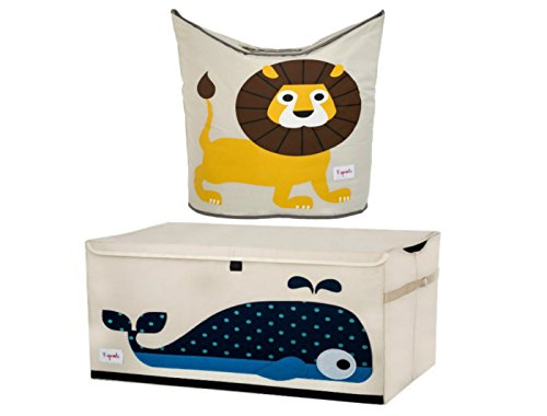 Cute Whale Chest Toy Storage Bin Container and Lion Laundry
