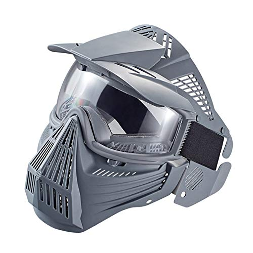 Anyoupin Paintball Mask, Airsoft Mask Full Face with Goggles Impact Resistant for Airsoft BB Hunting CS Game Paintball and Other Outdoor Activities Gray-Clear Lens by Anyoupin