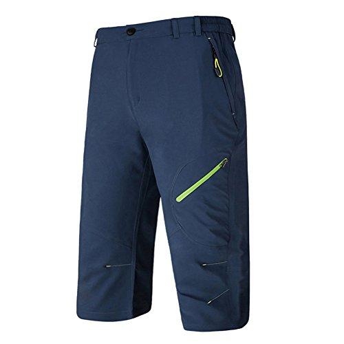 BIYLACLESEN Men Training Pants 3/4 Pants Men Workout Pants Men with Pockets Lightweight Pants for Men Zip Long Shorts for Men Below Knee