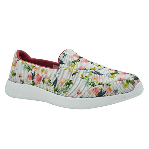 KazarMax Women's White Floral Slipon's Walking Sneakers (Washable with Quick Dry Fabric) (Made in India) SKL017