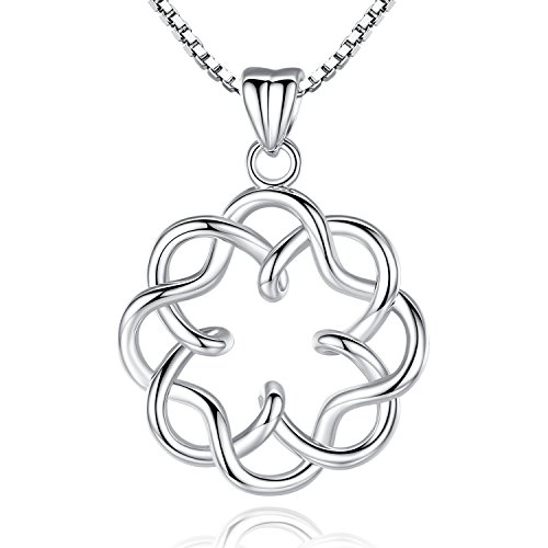 Platinum Plating Irish Celtic Knot Vintage Infinity Endless Love Pendant Necklace, 18